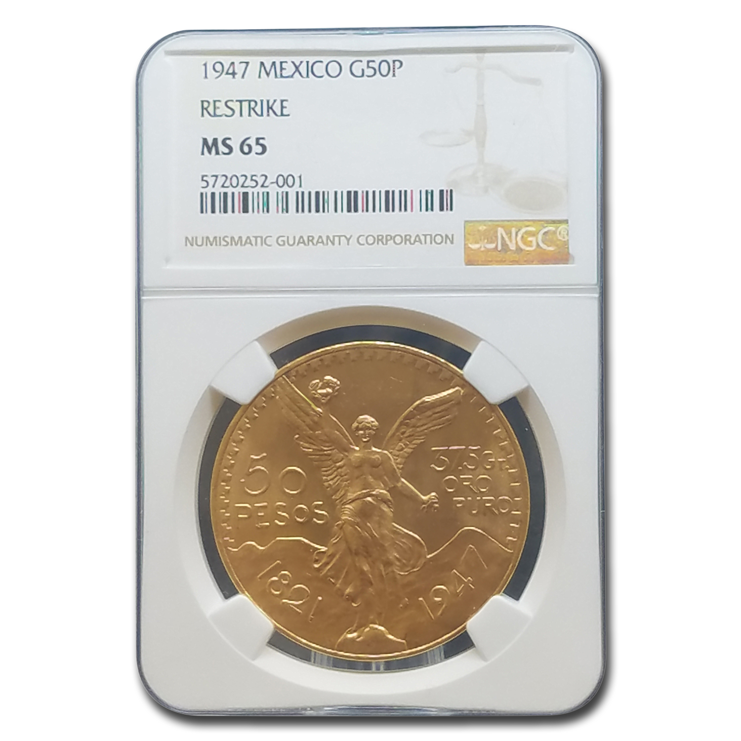 1947 Mexico Gold 50 Pesos MS-65 NGC