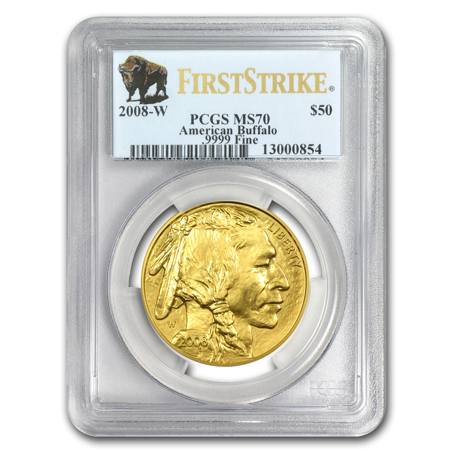 2008-W 1 oz Gold Buffalo MS-70 PCGS (FS, Registry Set)