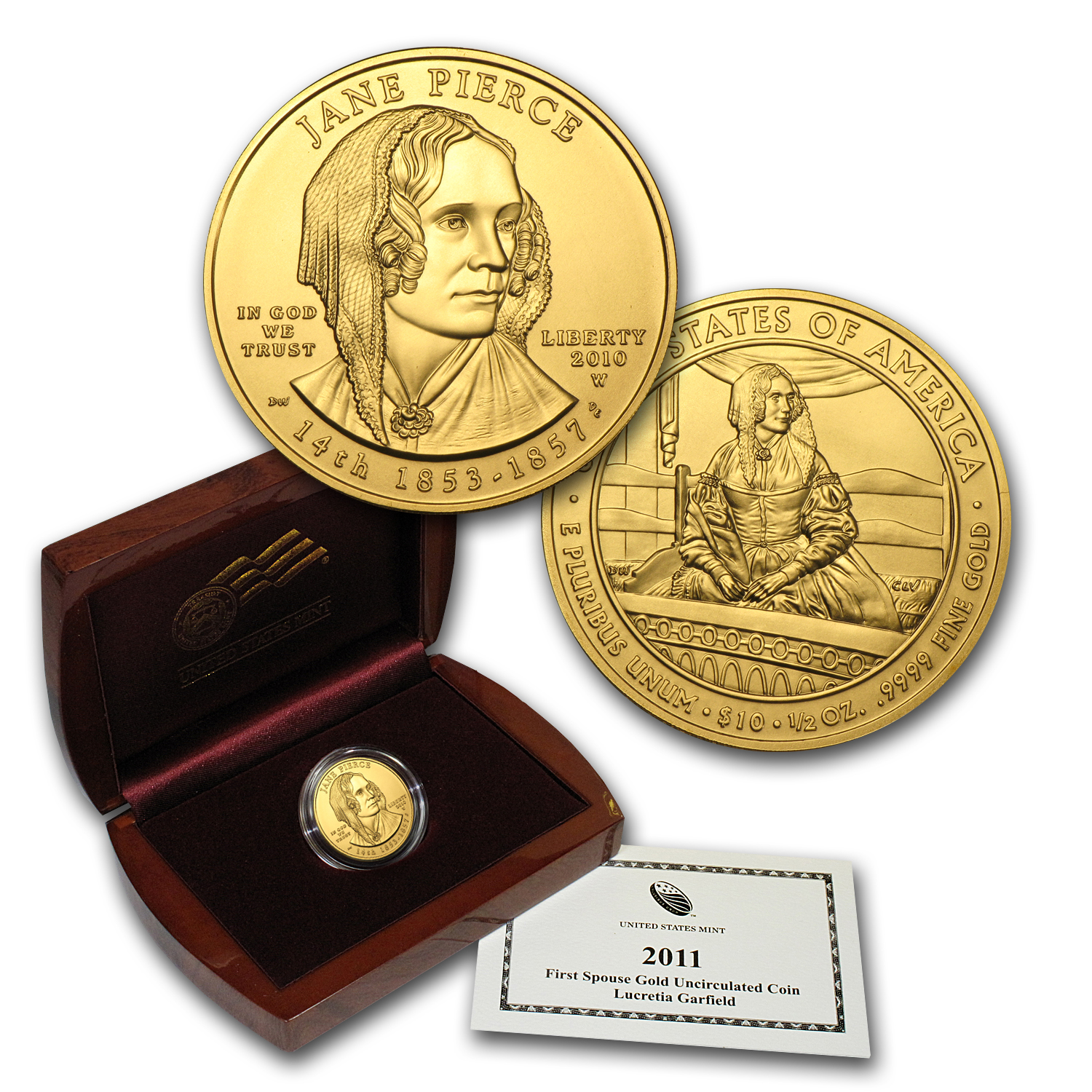 2010-W 1/2 oz Gold Jane Pierce BU (w/Box & COA)