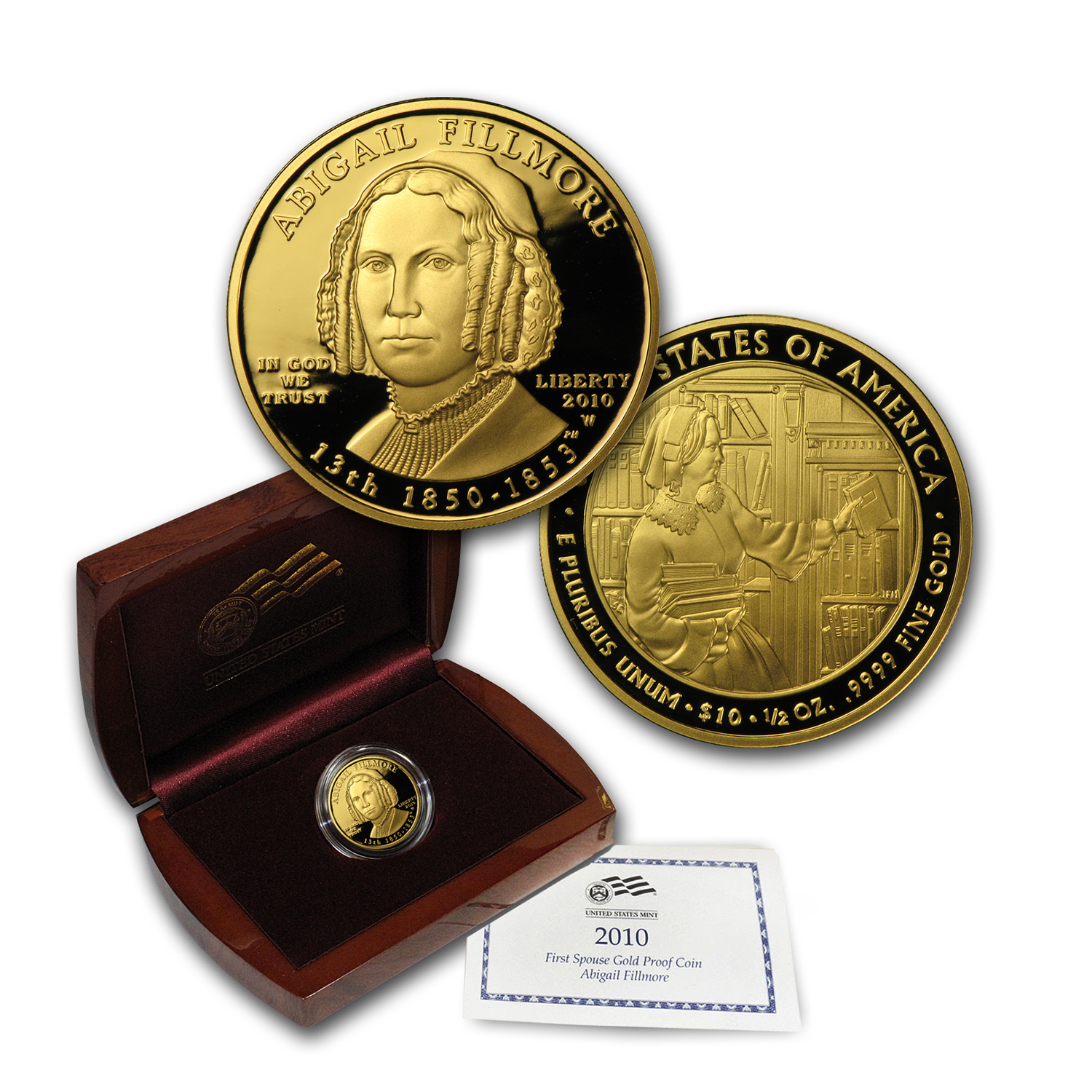 2010-W 1/2 oz Proof Gold Abigail Fillmore (w/Box & CoA)