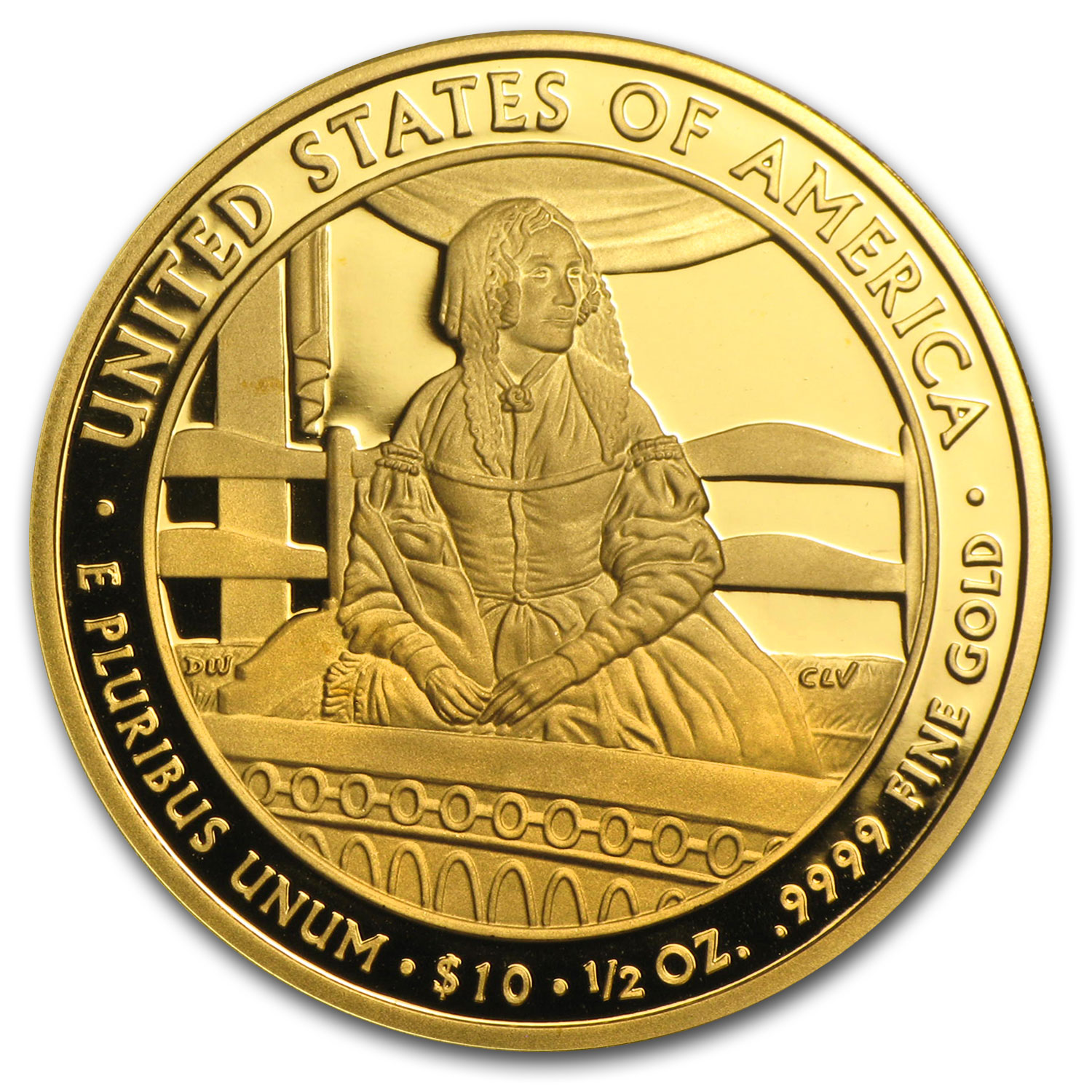 2010-W 1/2 oz Proof Gold Jane Pierce (w/Box & COA)