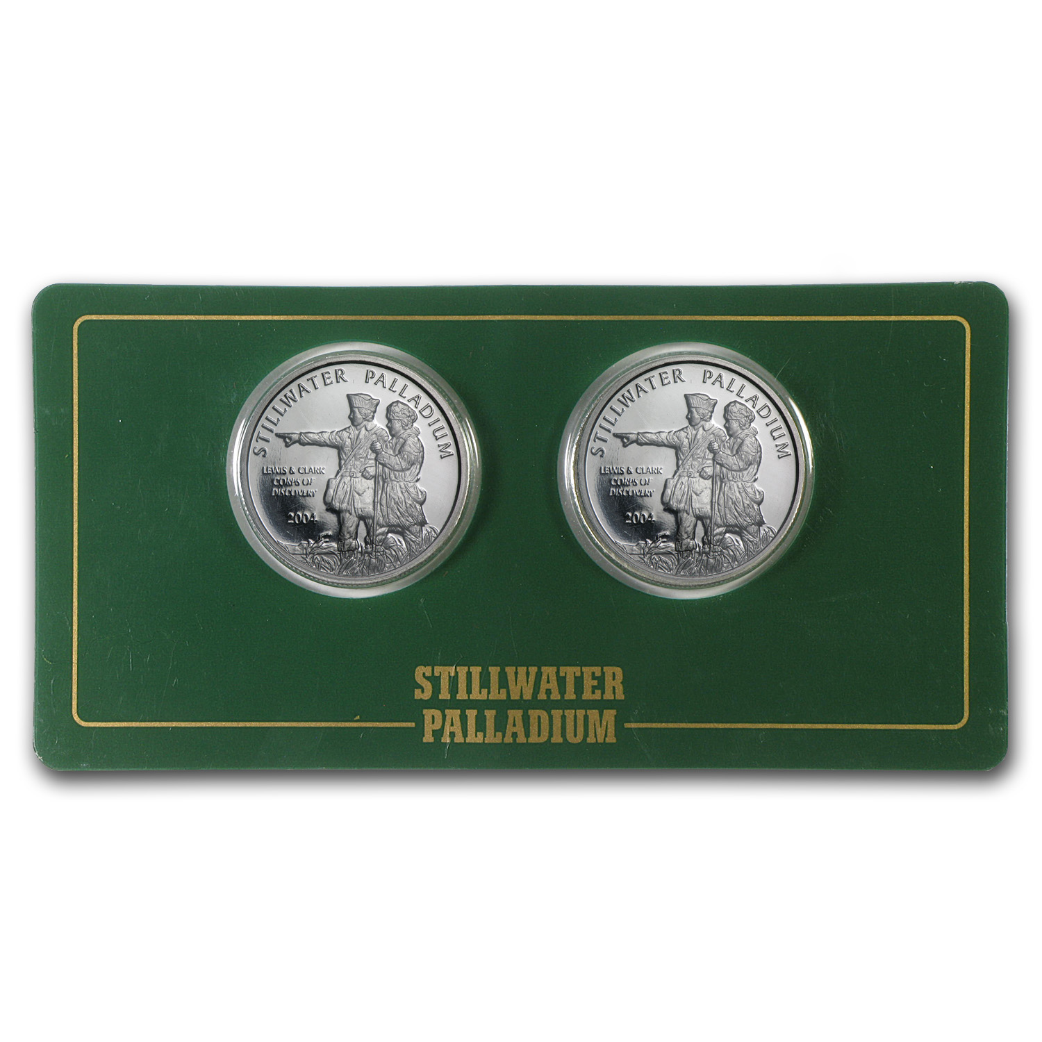 1/2 oz Palladium Round - Johnson Matthey Lewis & Clark (2 Pack)