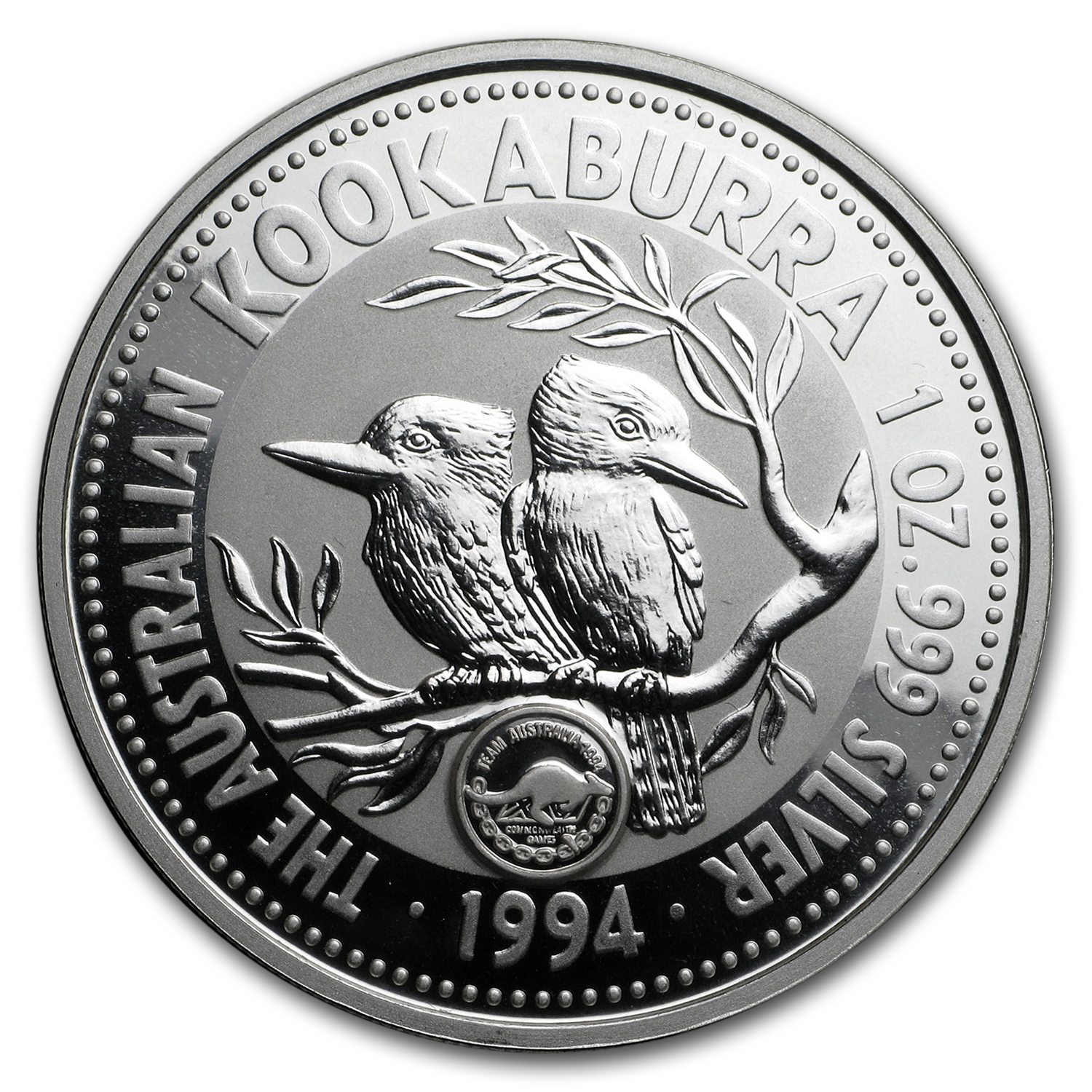 1994 1 oz Silver Australian Kookaburra - Commonwealth Games Privy