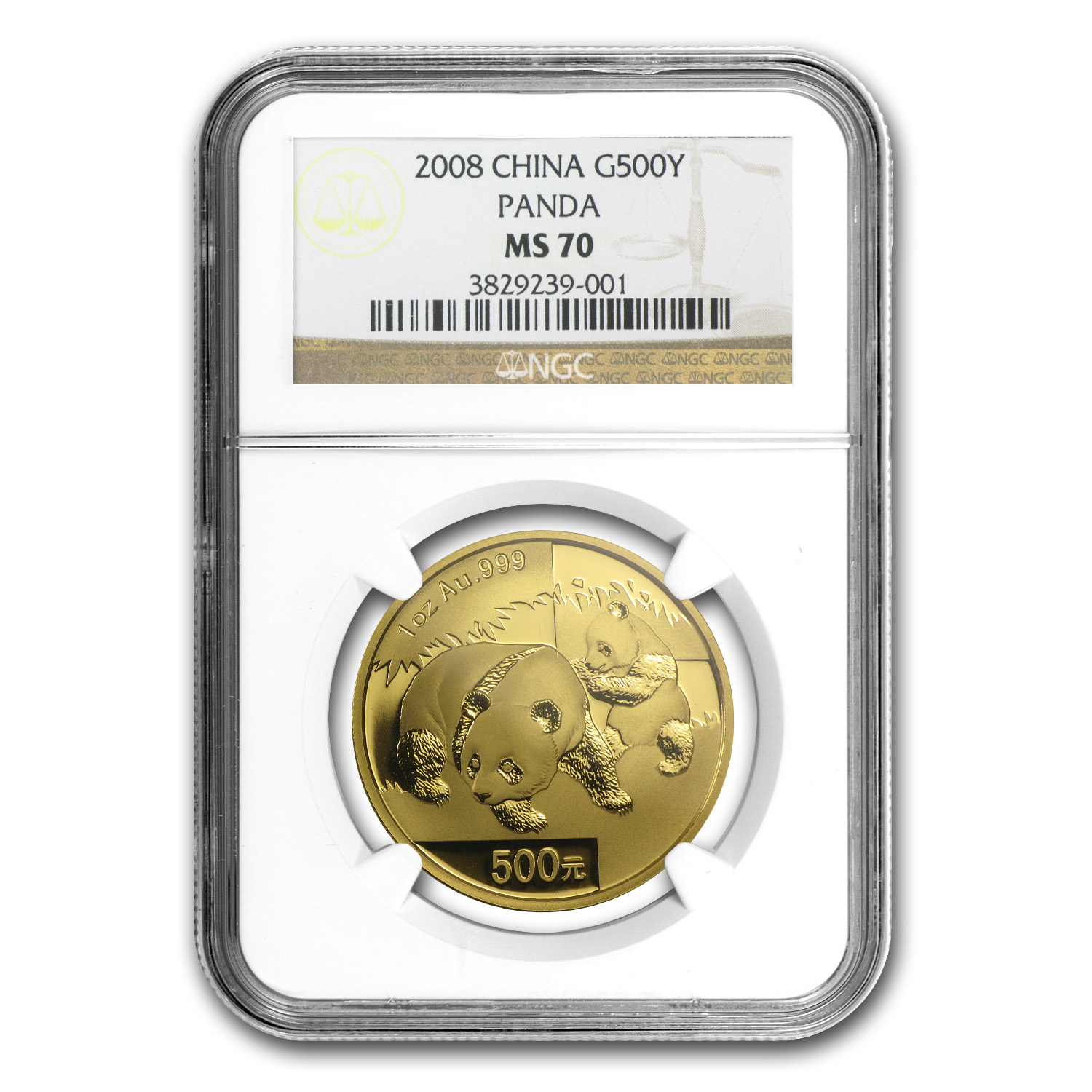 2008 China 1 oz Gold Panda MS-70 NGC