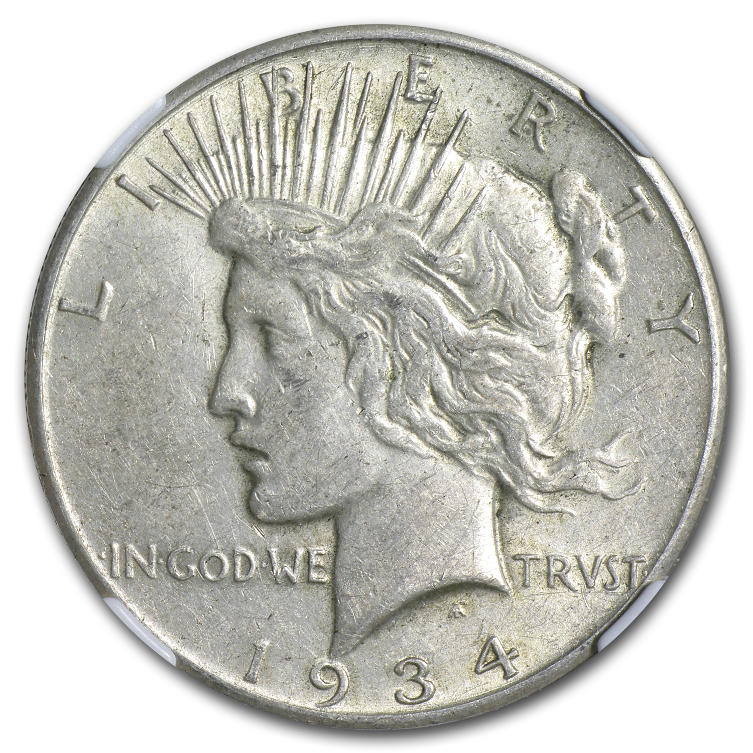 1934-S Peace Dollar - Almost Uncirculated