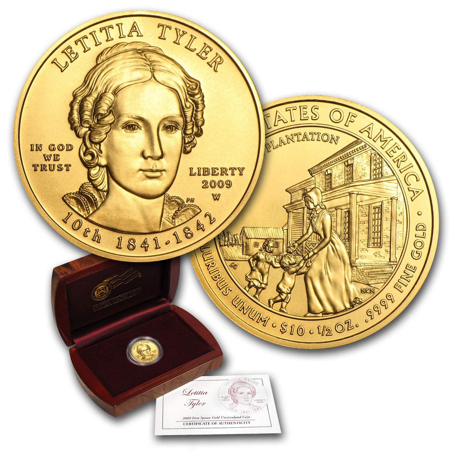 2009-W 1/2 oz Uncirculated Gold Letitia Tyler (w/Box & CoA)