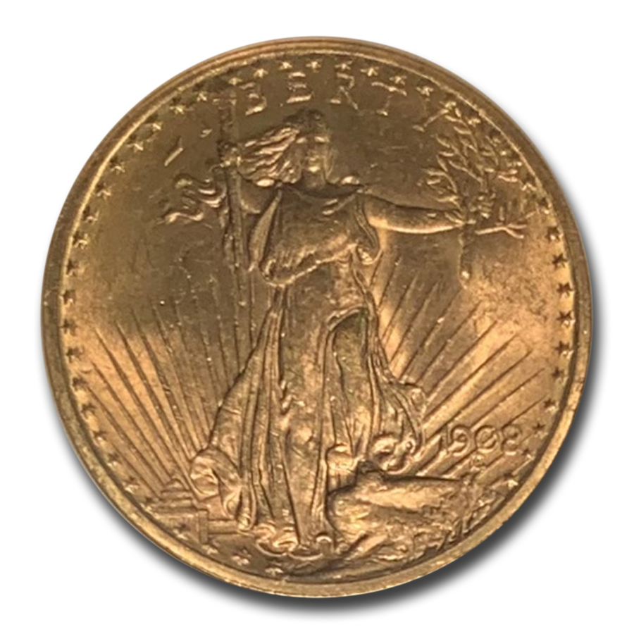 1908 $20 St. Gaudens Gold - With Motto - MS-62 NGC