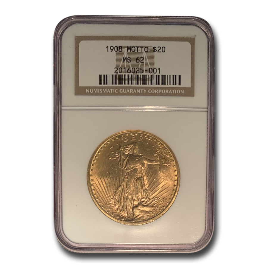 1908 $20 St. Gaudens Gold w/Motto MS-62 NGC