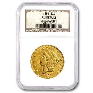 1851 $20 Gold Liberty Double Eagle - (AU Details - Cleaned) - NGC