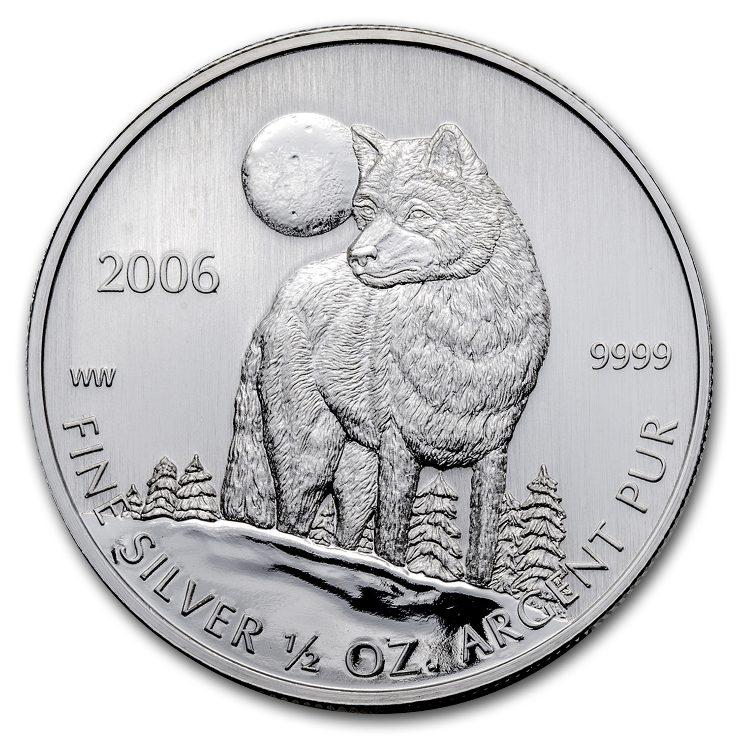 2006 Canada 1/2 oz Silver Timber Wolf Coin BU