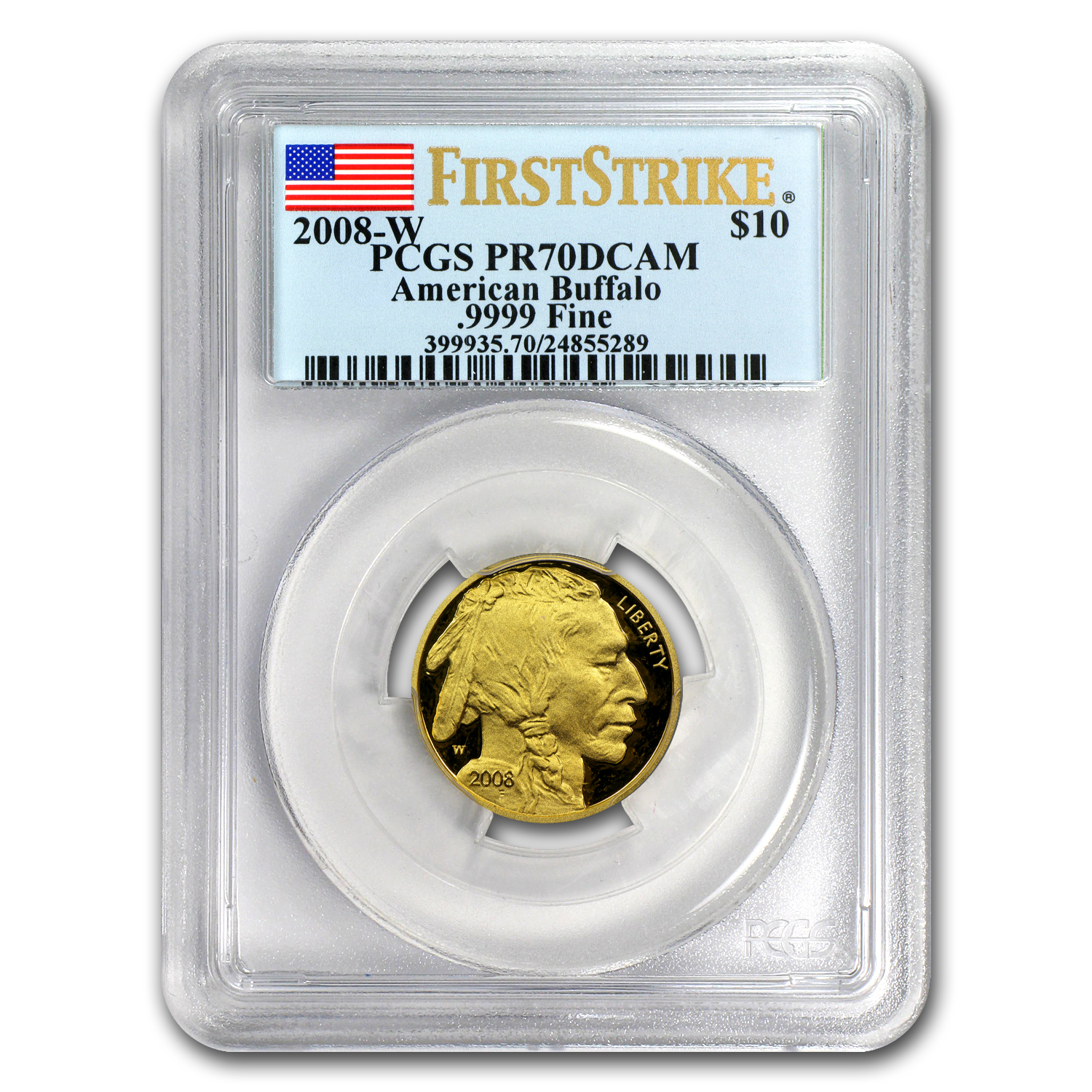 2008-W 1/4 oz Proof Gold Buffalo PR-70 PCGS (FS, Registry Set)