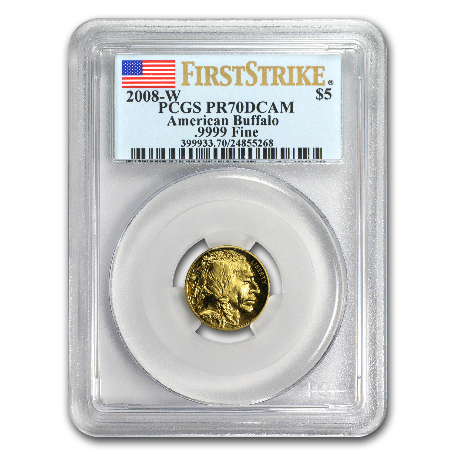 2008-W 1/10 oz Proof Gold Buffalo PR-70 PCGS (FS, Registry Set)