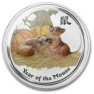 2008 Year of the Mouse Gemstone Eye - 1 Kilo Silver Coin (SII)