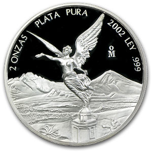 2002 Mexico 2 oz Silver Libertad Proof (In Capsule)