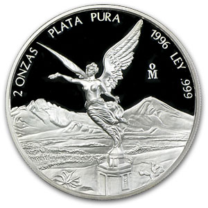 1996 2 oz Silver Mexican Libertad - Proof (In Capsule)