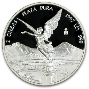 1997 2 oz Silver Mexican Libertad Proof (In Capsule)