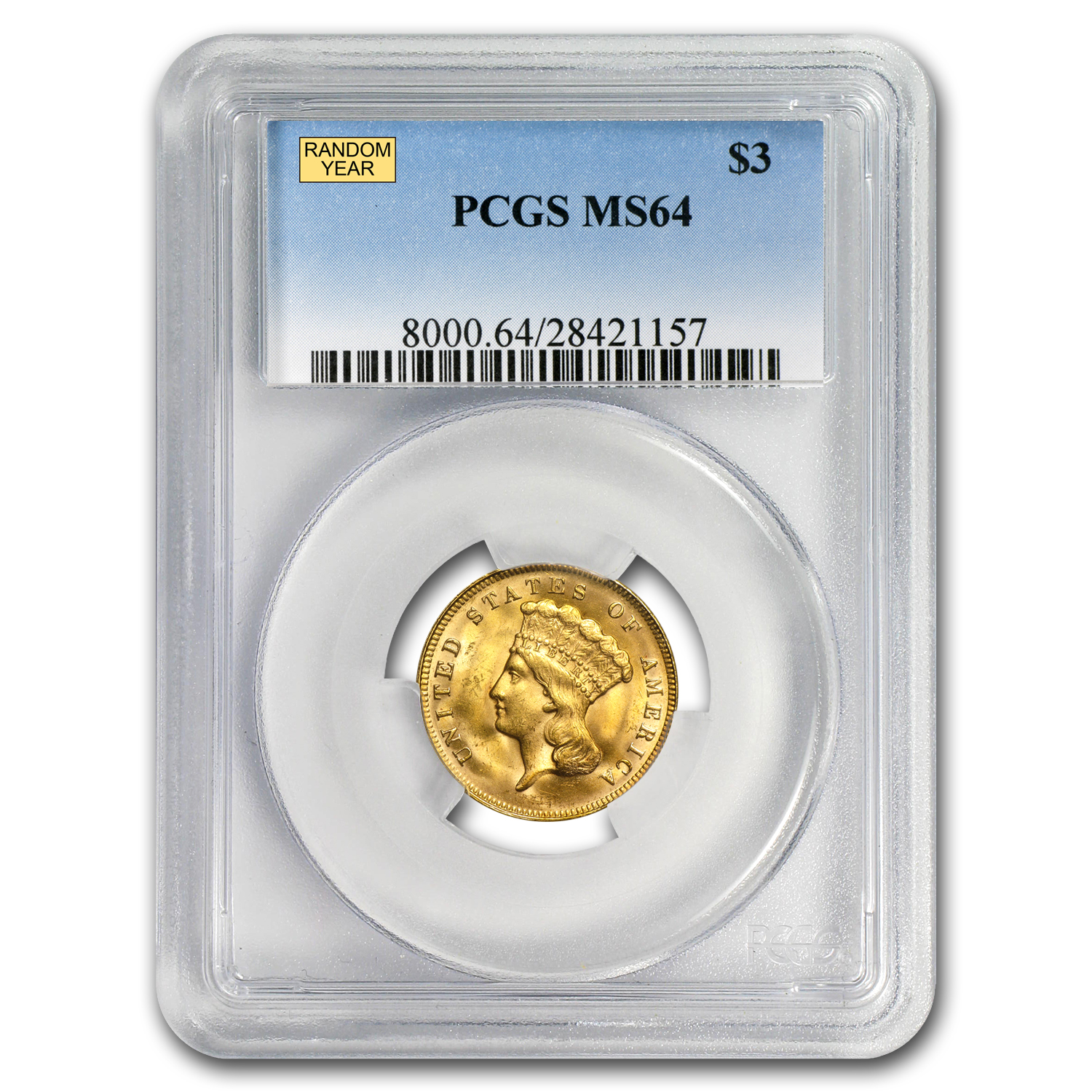 $3 Gold Princess MS-64 NGC/PCGS - Random Year