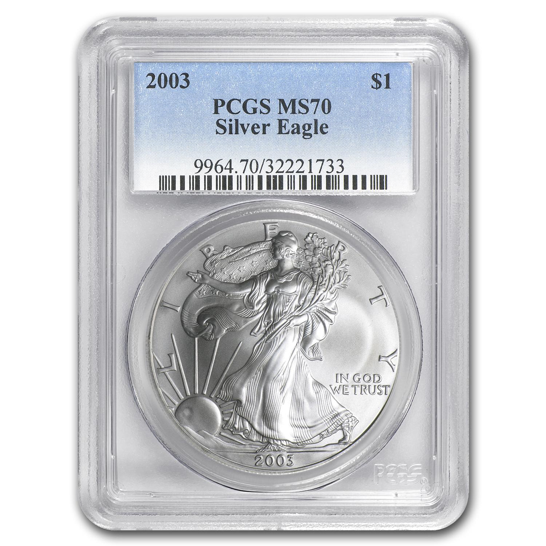 2003 Silver American Eagle Ms 70 Pcgs Silver Eagles