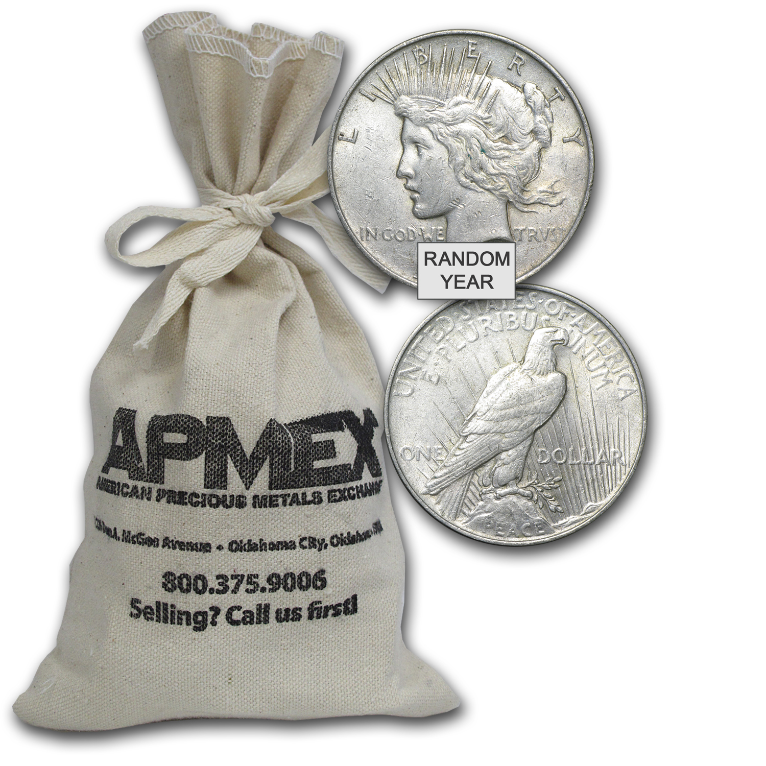 1922-1935 Peace Silver Dollars 100-Coin Bag VG-XF
