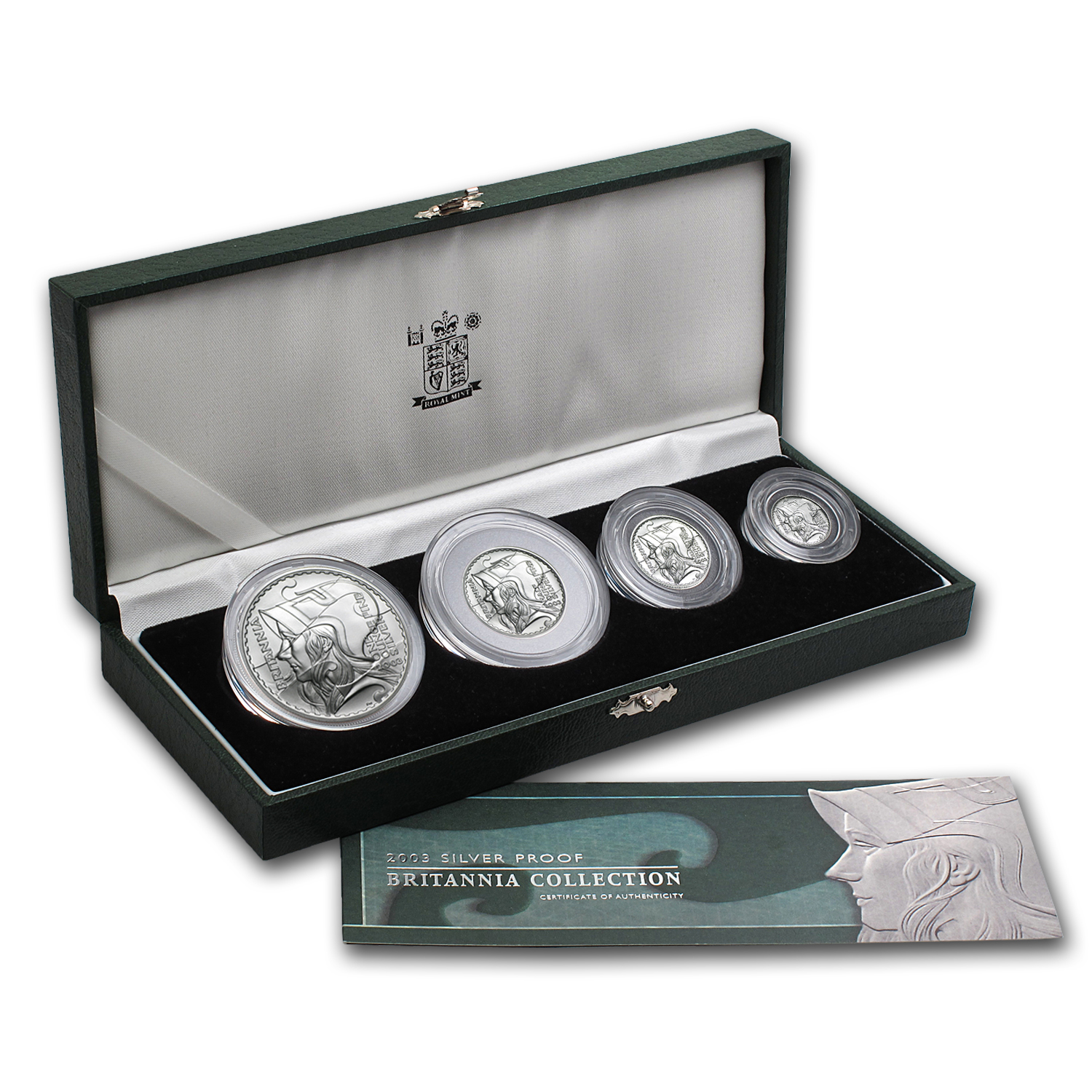 2003 GB 4-Coin Silver Britannia Proof Set (w/Box & COA)