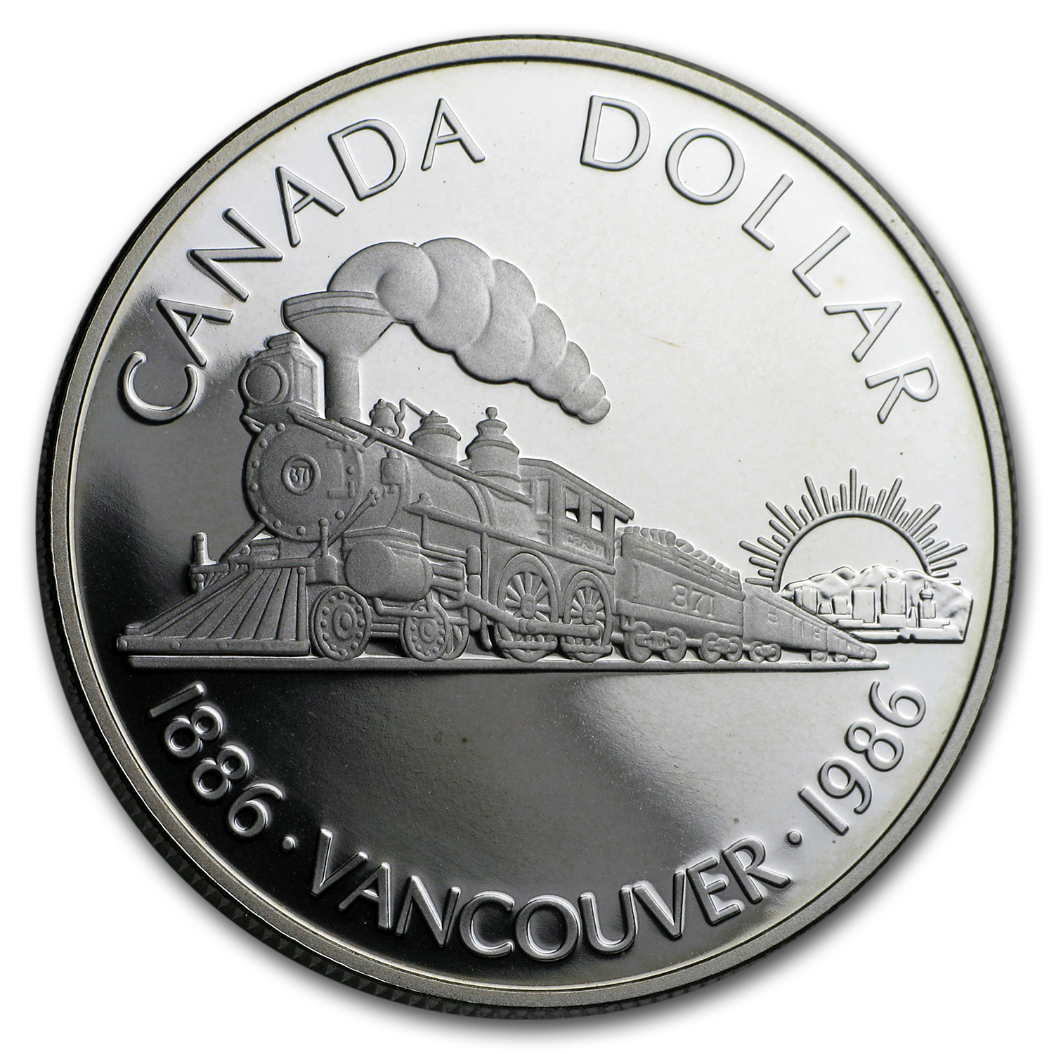 1986 Canada Silver Dollar (100th Anniv Transcontinental Railroad)