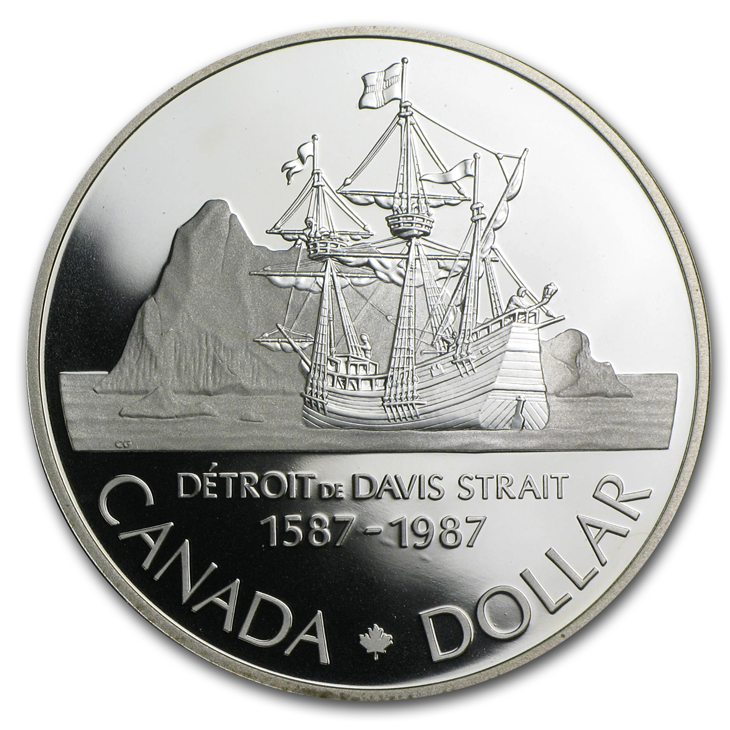 1987 Canada Silver Dollar (400th Anniv of John Davis Exploration)