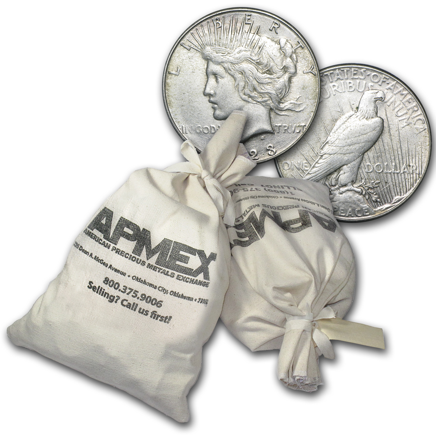 1922-1935 Peace Silver Dollars 1,000-Coin Bag VG-XF