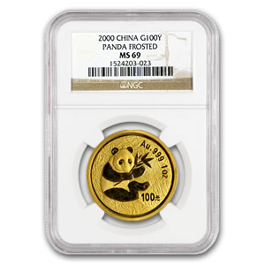 2000 1 oz Gold Chinese Panda MS-69 NGC - Frosted Ring