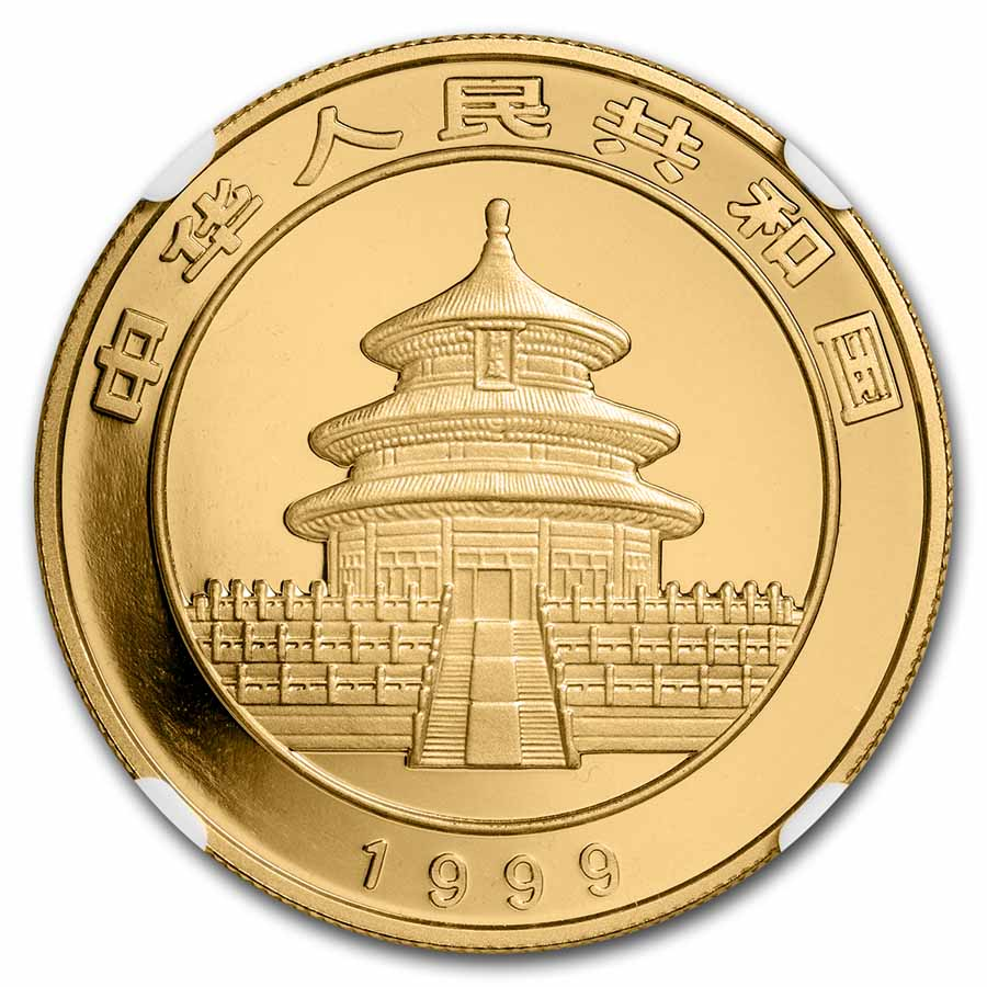 1999 China 1 oz Gold Panda Large Date/Plain 1 MS-68 NGC