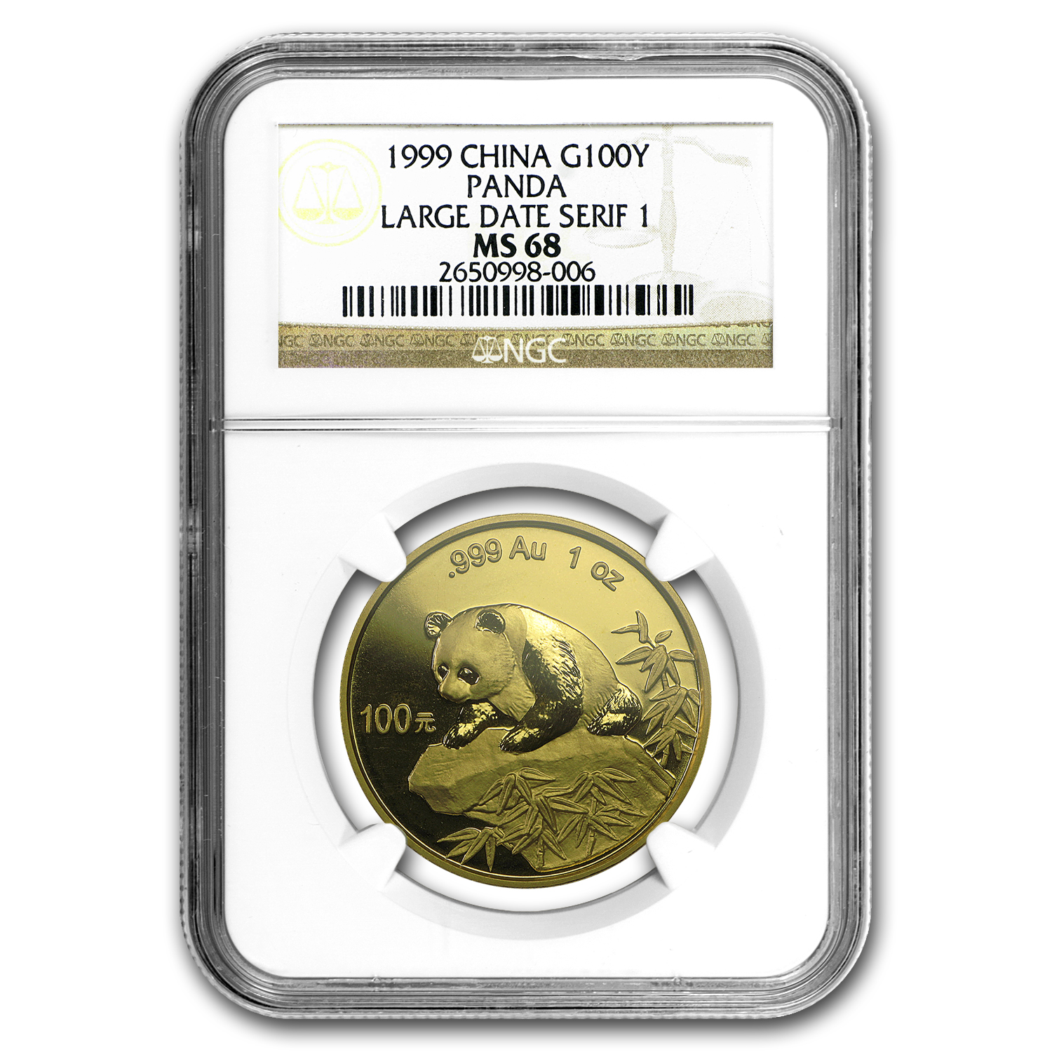 1999 1 oz Gold Chinese Panda Large Date/Serif 1 MS-68 NGC