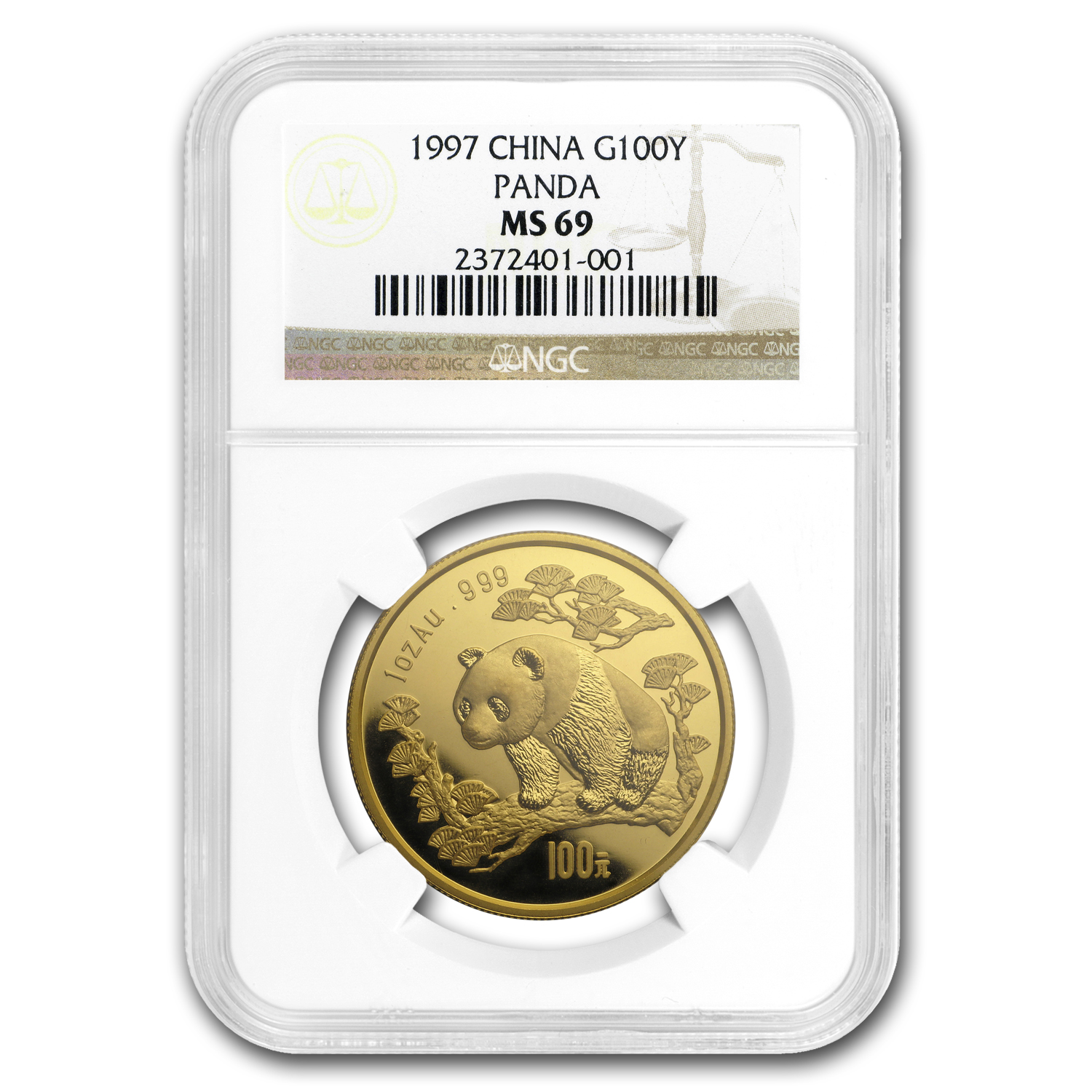 1997 China 1 oz Gold Panda Large Date MS-69 NGC