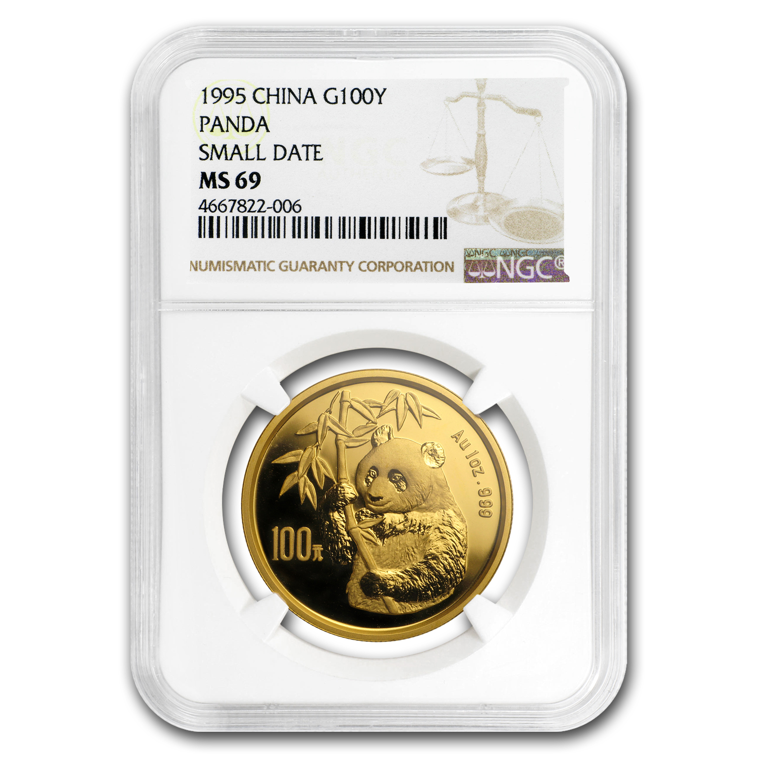1995 1 oz Gold Chinese Panda MS-69 NGC - Small Date