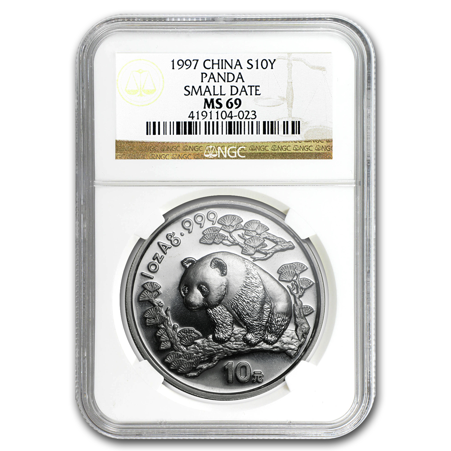 1997 China 1 oz Silver Panda MS-69 NGC (Small Date)