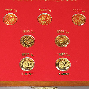 1982-1987 China 7-Coin 1/10 oz Gold Panda Prestige Set BU