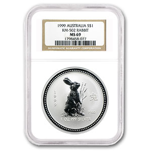 1999 Australia 1 oz Silver Year of the Rabbit MS-69 NGC