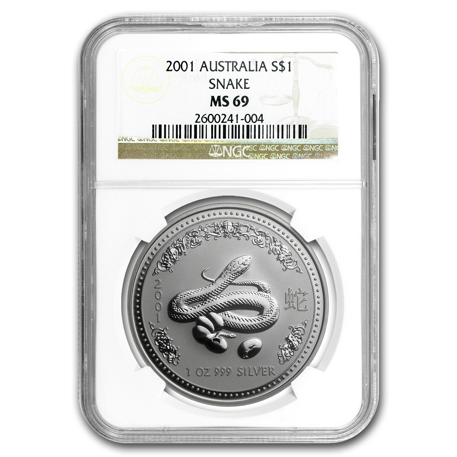 2001 Australia 1 oz Silver Year of the Snake MS-69 NGC