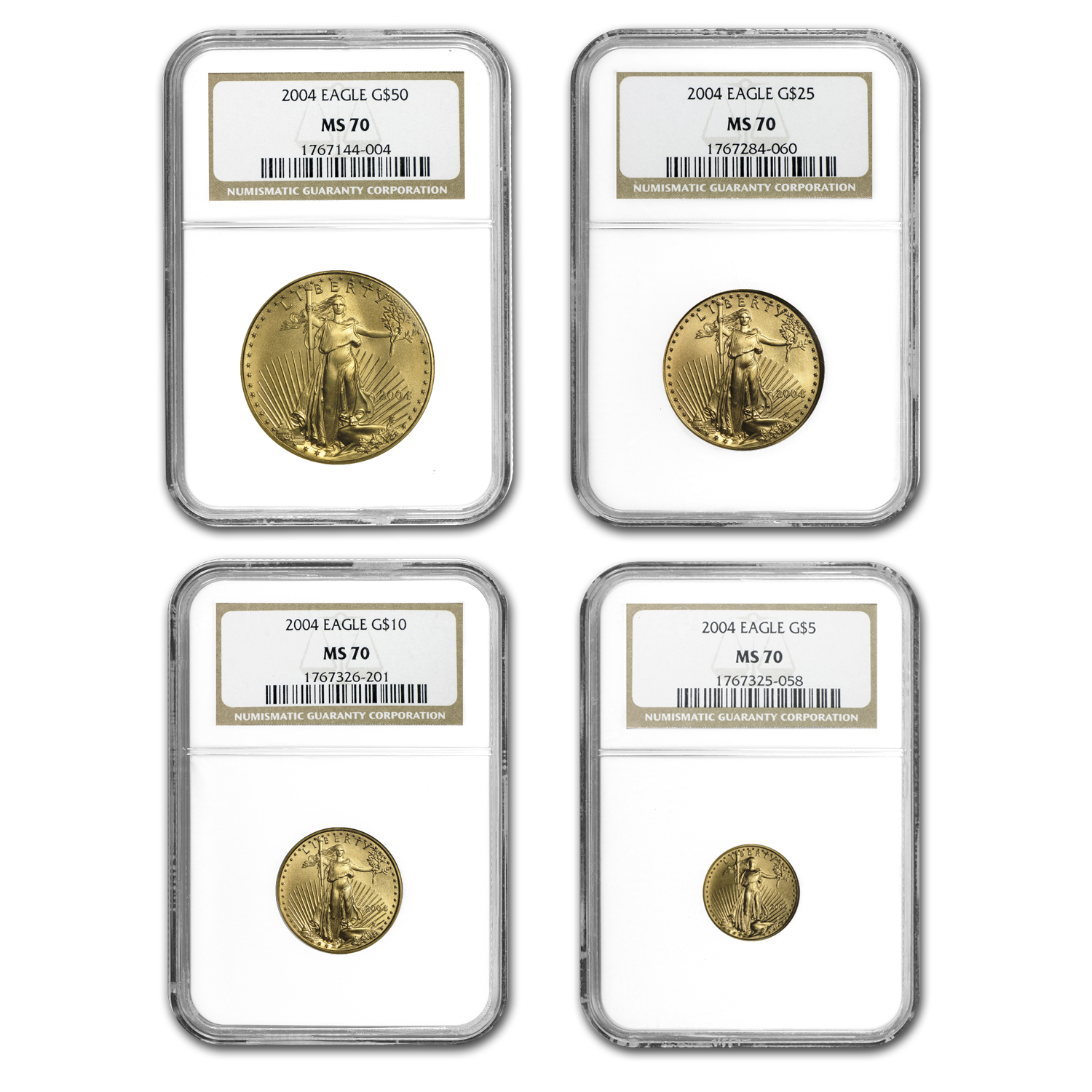 2004 4-Coin Gold American Eagle Set MS-70 NGC