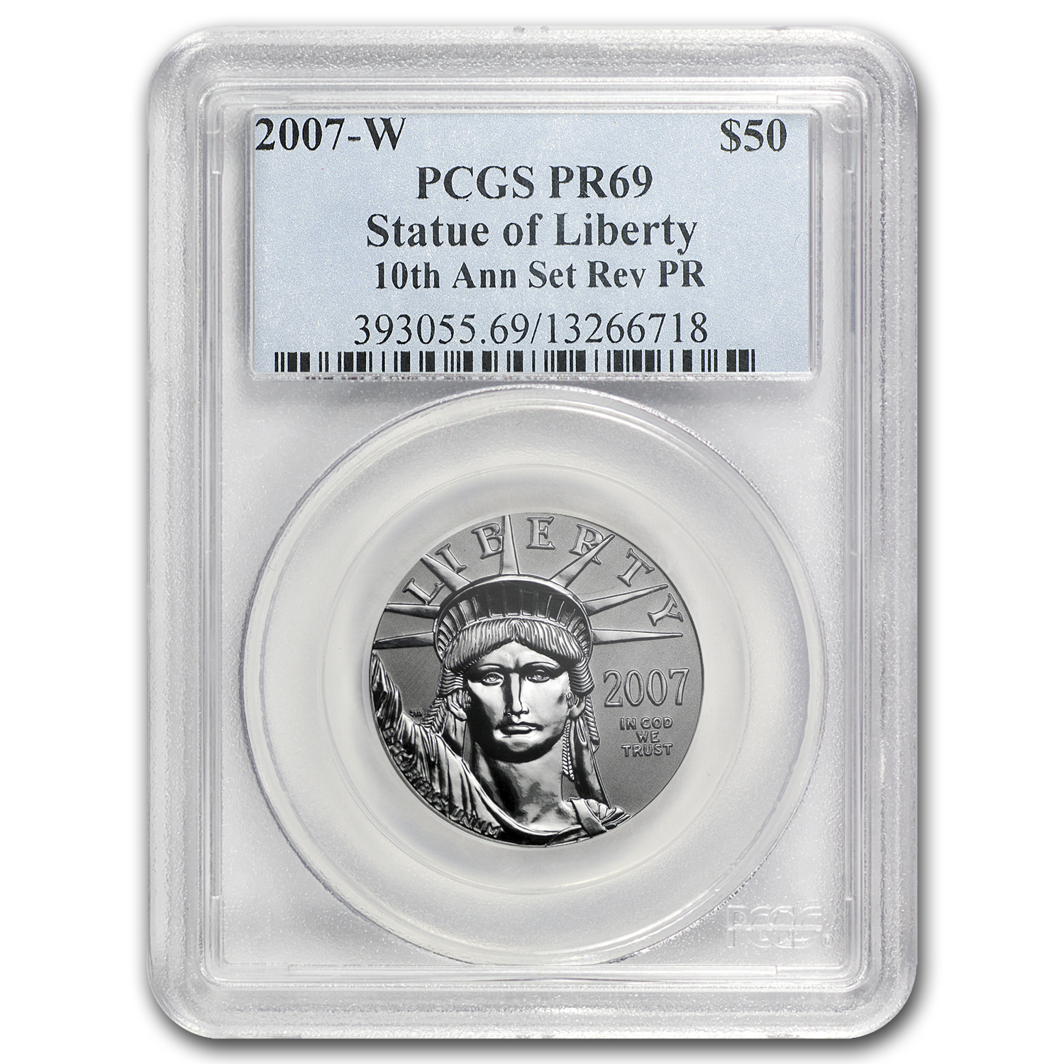 2007-W 2-Coin Proof Platinum Eagle Set PR-69 PCGS (10th Anniv)