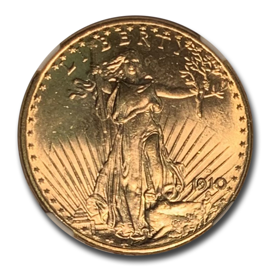 1910-D $20 Saint-Gaudens Gold Double Eagle MS-64 NGC