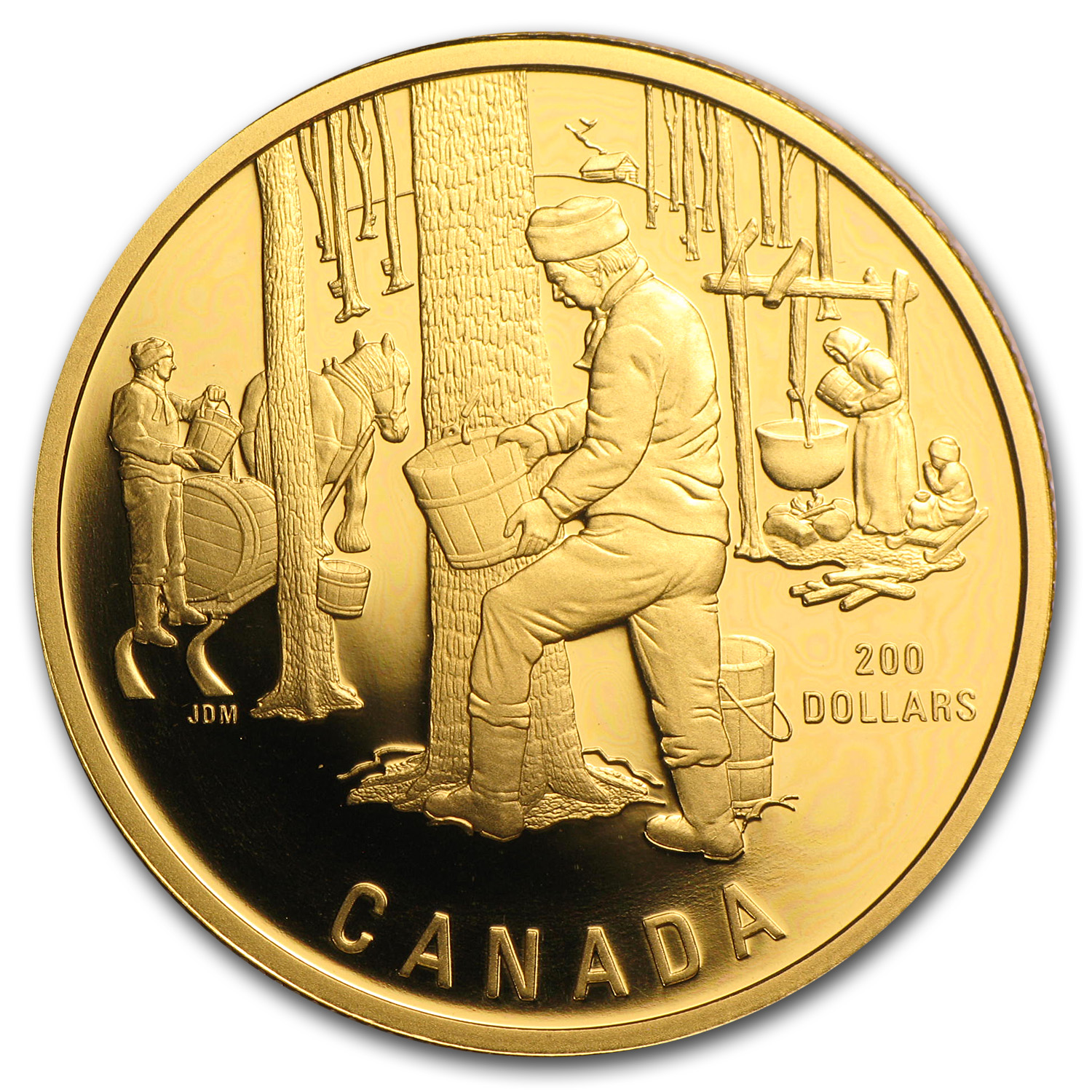 1995 1/2 oz Gold Canadian $200 Proof - Maple Syrup Sugaring