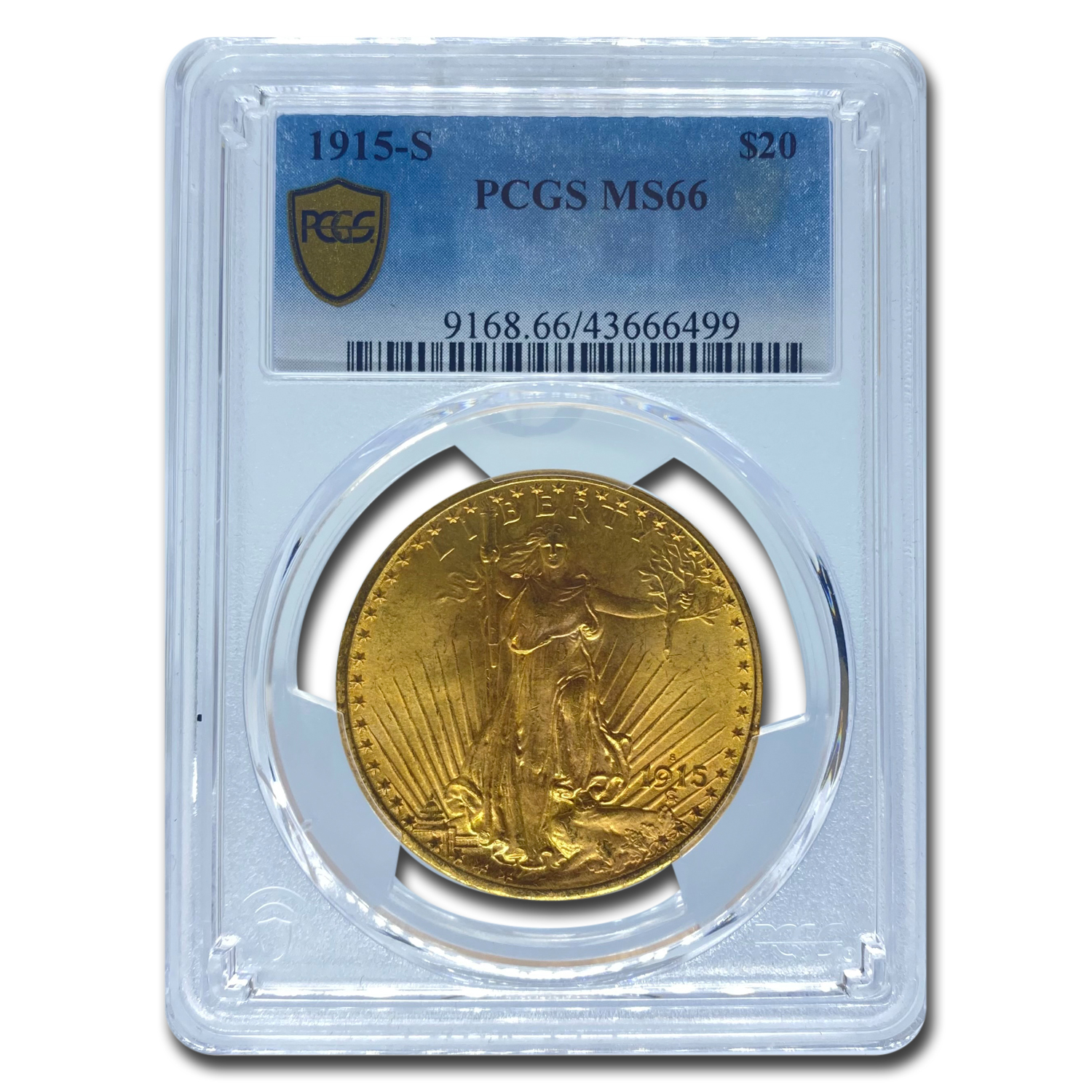 1915-S $20 St. Gaudens Gold Double Eagle MS-66 PCGS