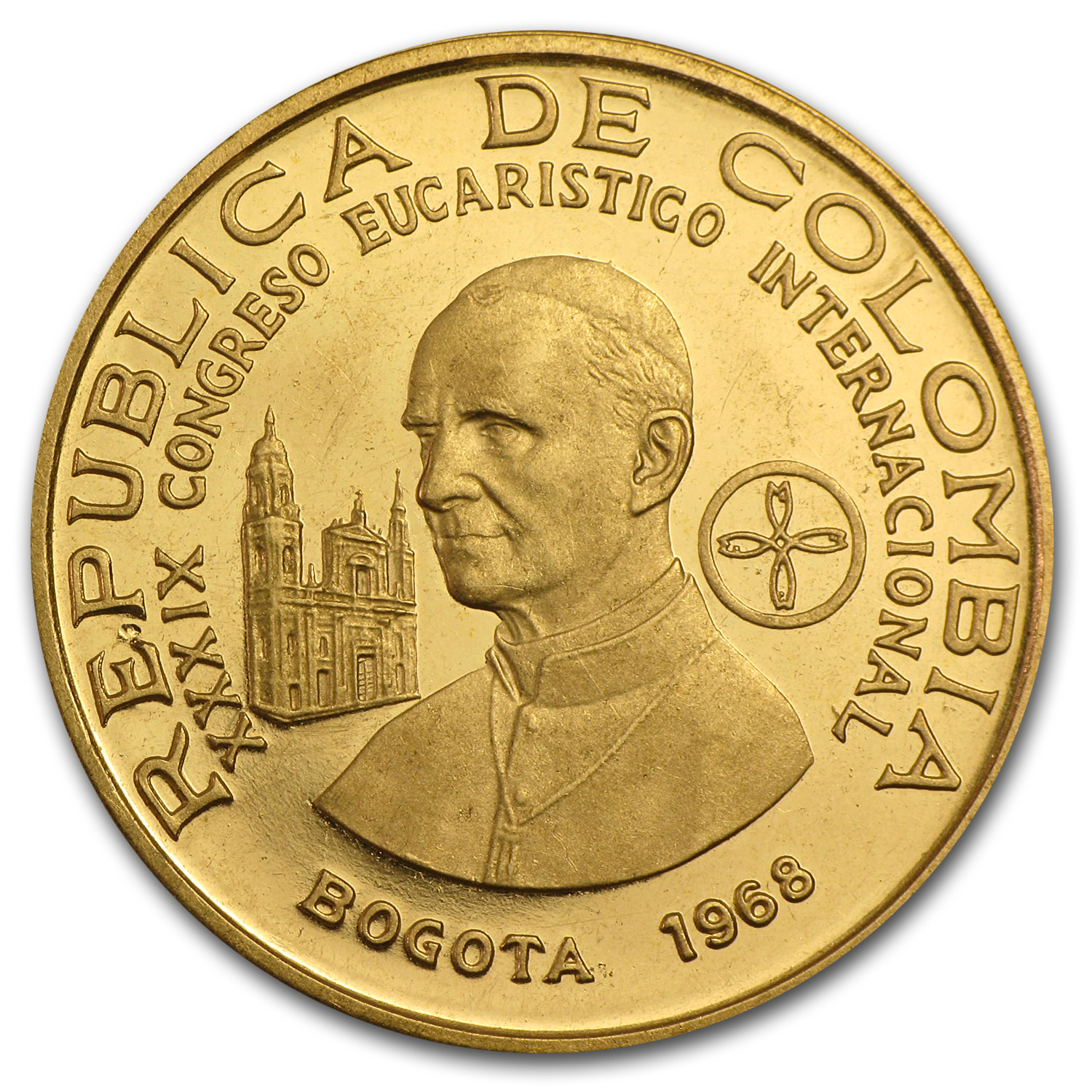 1968 Colombia Proof Gold 300 Pesos Pope Paul VI