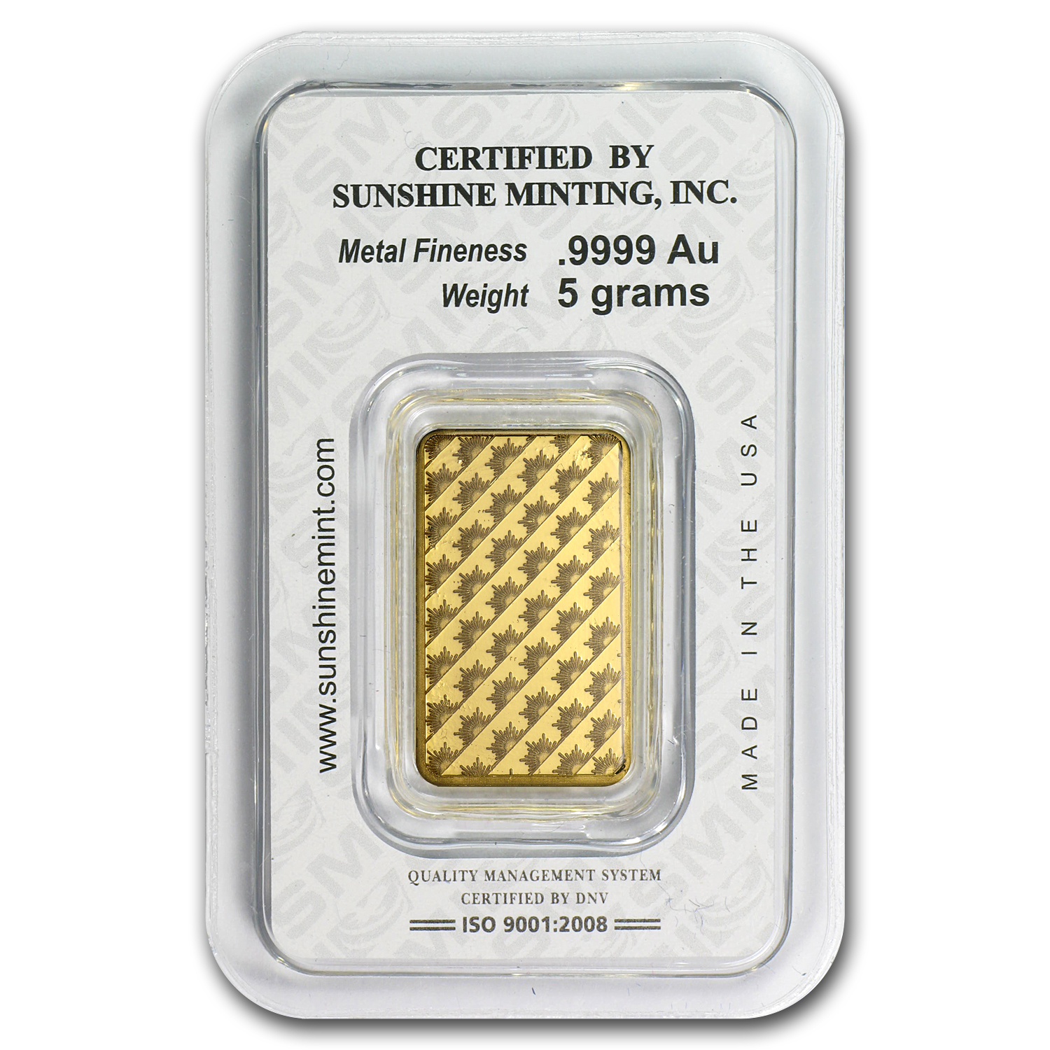 5 gram Gold Bar - Sunshine Minting (Old Design in TEP Packaging)