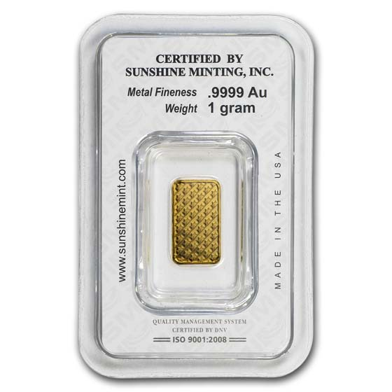 1 gram Sunshine Minting Gold Bar (In Assay/Tamper Evident Pkg)