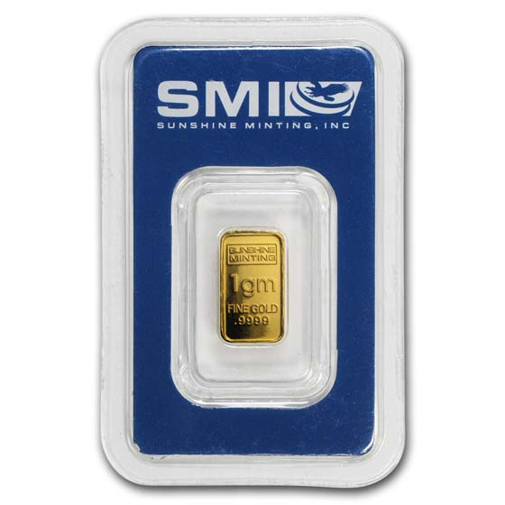 1 gram Gold Bar - Sunshine Minting (In Assay/Tamper Evident Pkg)