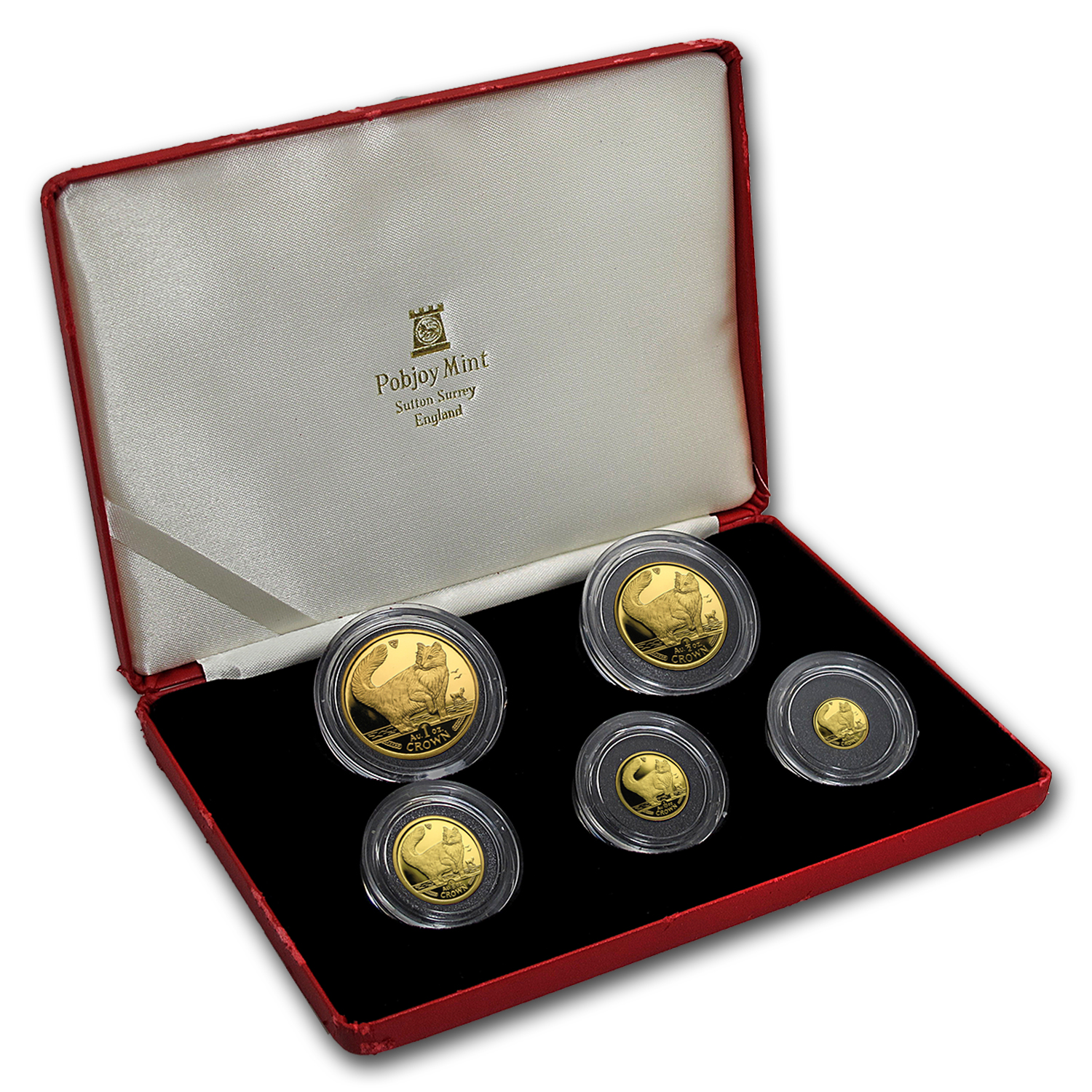 1991 Isle of Man 5-Coin Gold Norwegian Cat Proof Set