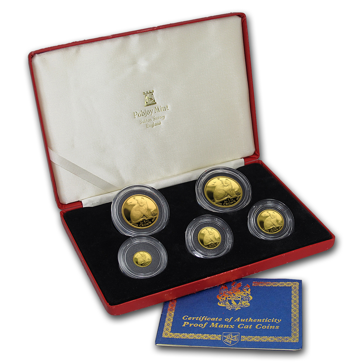 1990 Isle of Man 5-Coin Gold NY Alley Cat Proof Set (1.84 oz)