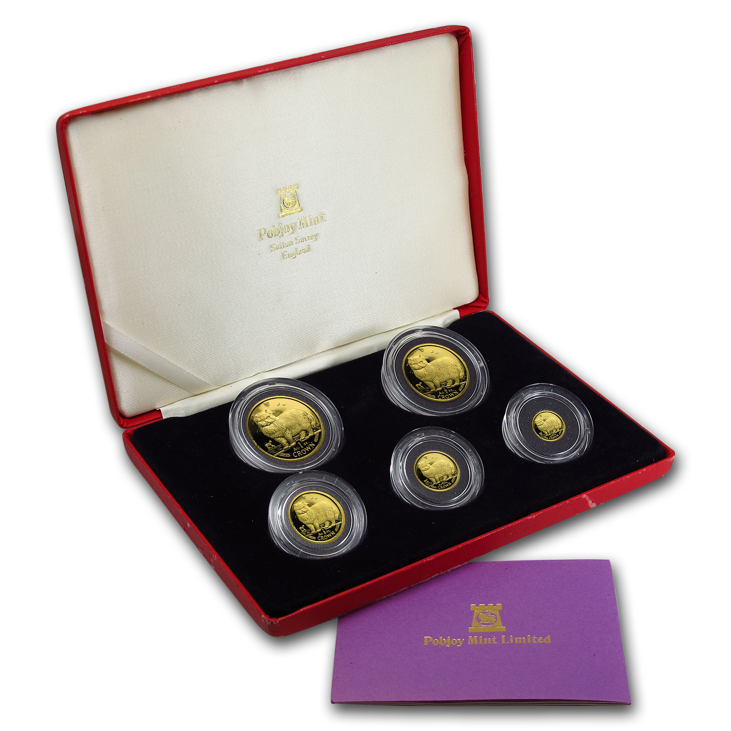 1989 Isle of Man 5-Coin Gold Persian Cat Proof Set (w/ Box & COA)
