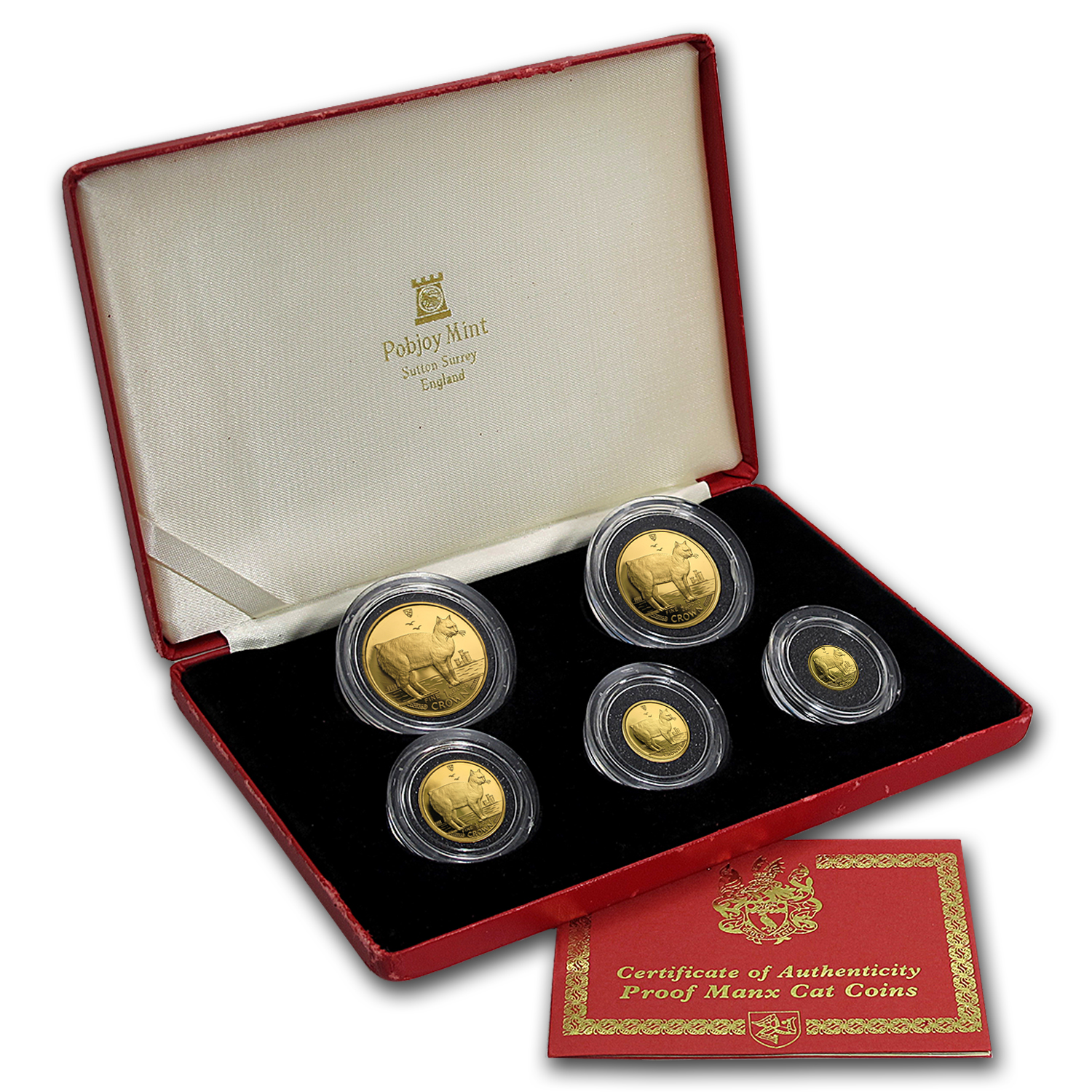 1988 Isle of Man 5-Coin Gold Manx Cat Proof Set
