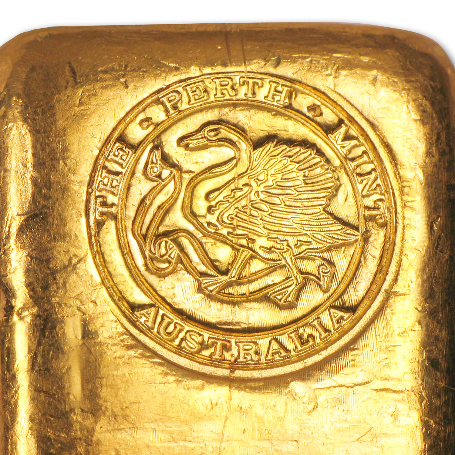 10 oz Gold Bar - Perth Mint (Poured, Old Style Swan)